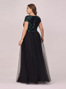 Color=Black | Stylish V Neck Wholesale Plus Size Tulle Evening Dress With Sequin-Black 2