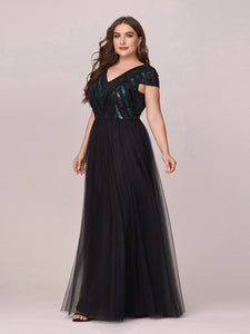 Color=Black | Stylish V Neck Wholesale Plus Size Tulle Evening Dress With Sequin-Black 3