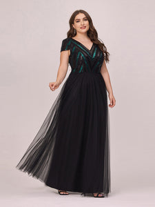 Color=Black | Stylish V Neck Wholesale Plus Size Tulle Evening Dress With Sequin-Black 4