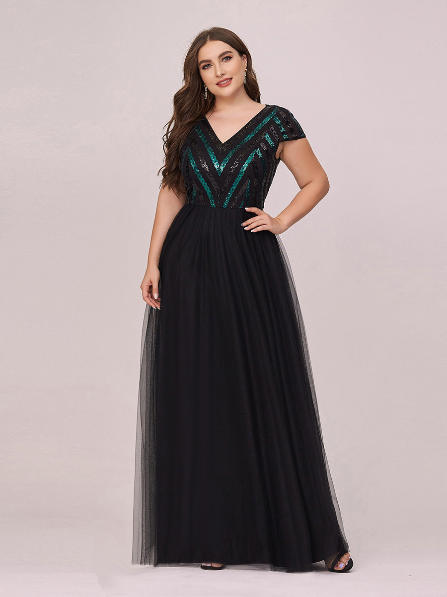 Color=Black | Stylish V Neck Wholesale Plus Size Tulle Evening Dress With Sequin-Black 1