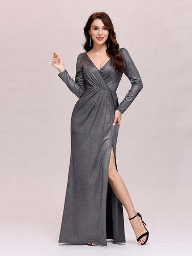 Color=Grey | Adorable V Neck Wholesale Evening Dress With Long Sleeves-Grey 1