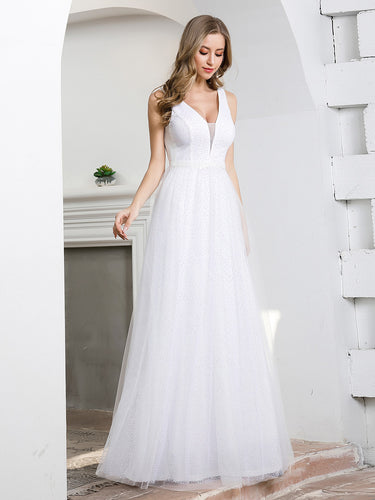 Color=White | Elegant A-Line Sleeveless Tulle Wedding Dresses For Women-White 1