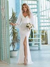 Load image into Gallery viewer, Color=Cream | Sexy Maxi Mermaid Lace Wedding Dress With High Split-Cream 1