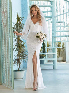 Color=Cream | Sexy Maxi Mermaid Lace Wedding Dress With High Split-Cream 1
