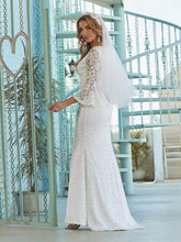 Load image into Gallery viewer, Color=Cream | Sexy Maxi Mermaid Lace Wedding Dress With High Split-Cream 3