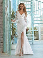 Load image into Gallery viewer, Color=Cream | Sexy Maxi Mermaid Lace Wedding Dress With High Split-Cream 4