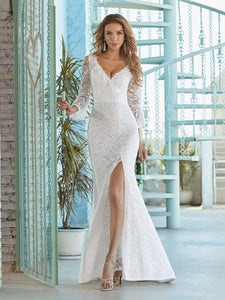 Color=Cream | Sexy Maxi Mermaid Lace Wedding Dress With High Split-Cream 4