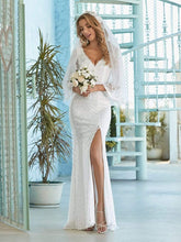 Load image into Gallery viewer, Color=Cream | Sexy Maxi Mermaid Lace Wedding Dress With High Split-Cream 5