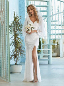Color=Cream | Sexy Maxi Mermaid Lace Wedding Dress With High Split-Cream 5