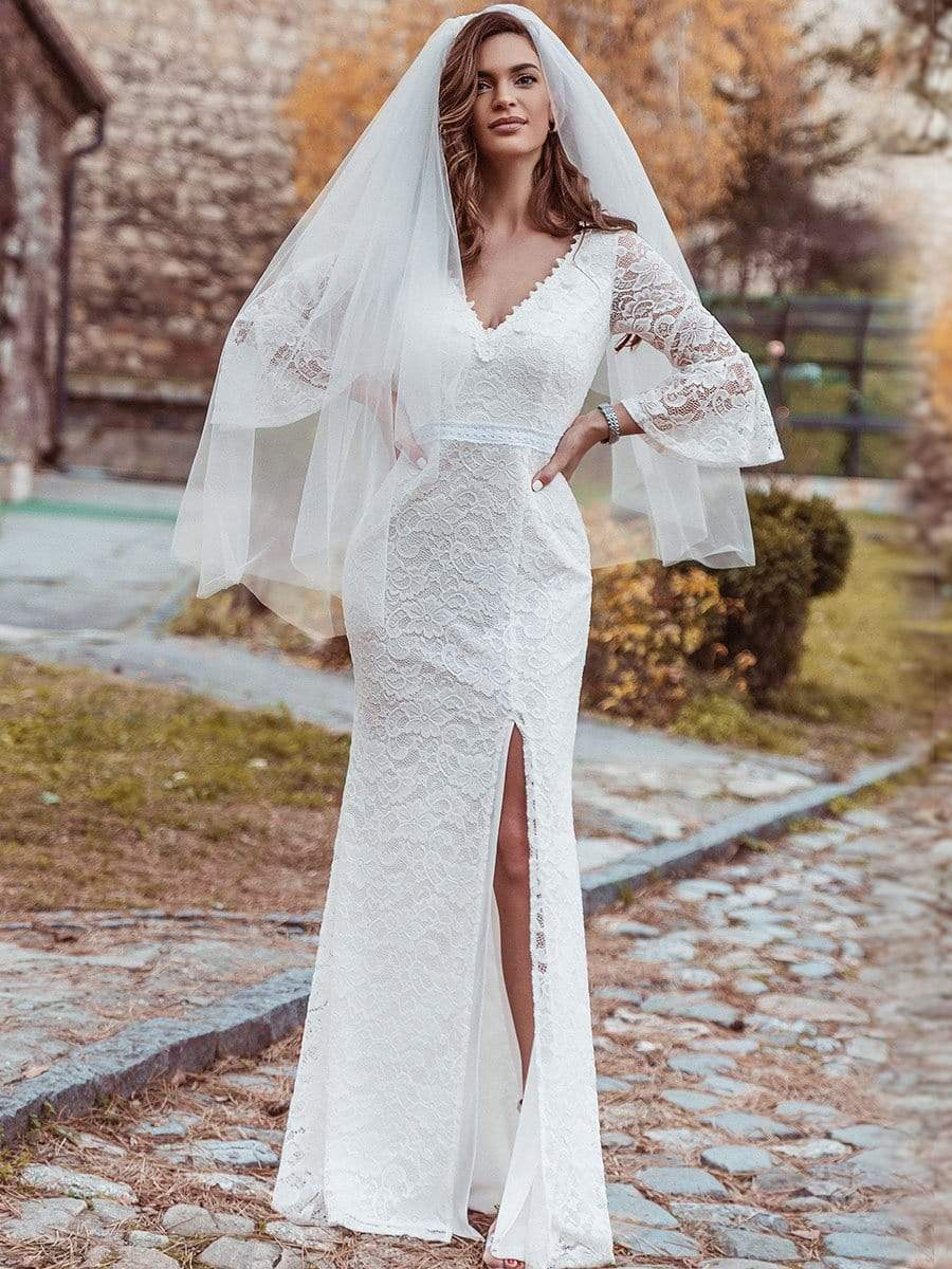 Color=Cream | Sexy Maxi Mermaid Lace Wedding Dress With High Split-Cream 7