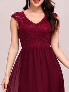 Color=Burgundy | Classic Floral Lace V Neck Cap Sleeve Chiffon Evening Dress-Burgundy 3