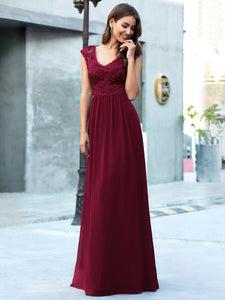 Color=Burgundy | Classic Floral Lace V Neck Cap Sleeve Chiffon Evening Dress-Burgundy 5