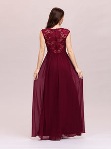 Color=Burgundy | Classic Floral Lace V Neck Cap Sleeve Chiffon Evening Dress-Burgundy 2