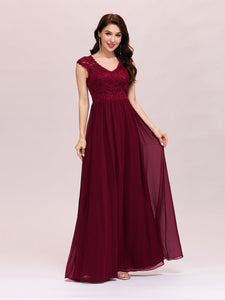 Color=Burgundy | Classic Floral Lace V Neck Cap Sleeve Chiffon Evening Dress-Burgundy 1