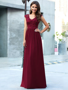 Color=Burgundy | Classic Floral Lace V Neck Cap Sleeve Chiffon Evening Dress-Burgundy 4