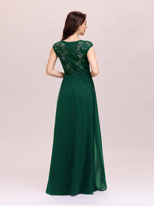 Color=Dark Green | Classic Floral Lace V Neck Cap Sleeve Chiffon Evening Dress-Dark Green 2