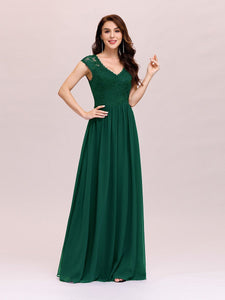 Color=Dark Green | Classic Floral Lace V Neck Cap Sleeve Chiffon Evening Dress-Dark Green 3