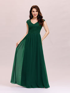 Color=Dark Green | Classic Floral Lace V Neck Cap Sleeve Chiffon Evening Dress-Dark Green 4