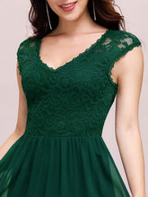 Load image into Gallery viewer, Color=Dark Green | Classic Floral Lace V Neck Cap Sleeve Chiffon Evening Dress-Dark Green 5