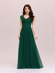 Color=Dark Green | Classic Floral Lace V Neck Cap Sleeve Chiffon Evening Dress-Dark Green 1