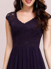 Load image into Gallery viewer, Color=Dark Purple | Classic Floral Lace V Neck Cap Sleeve Chiffon Evening Dress-Dark Purple 5