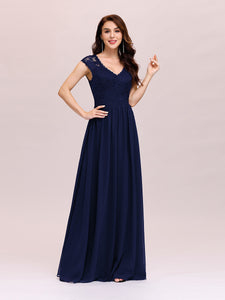 Color=Navy Blue | Classic Floral Lace V Neck Cap Sleeve Chiffon Evening Dress-Navy Blue 3