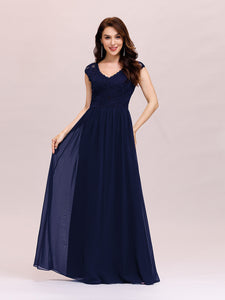Color=Navy Blue | Classic Floral Lace V Neck Cap Sleeve Chiffon Evening Dress-Navy Blue 4