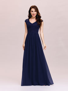 Color=Navy Blue | Classic Floral Lace V Neck Cap Sleeve Chiffon Evening Dress-Navy Blue 1