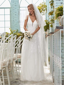 Color=Cream | Simple V Neck Wedding Dress With Floral Embroidery-Cream 3