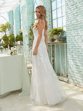 Load image into Gallery viewer, Color=Cream | Simple V Neck Wedding Dress With Floral Embroidery-Cream 4