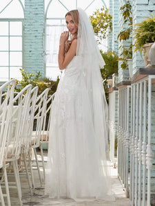 Color=Cream | Simple V Neck Wedding Dress With Floral Embroidery-Cream 5