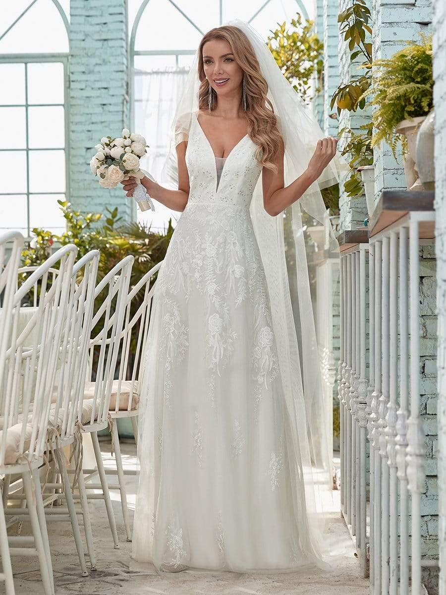 Color=Cream | Simple V Neck Wedding Dress With Floral Embroidery-Cream 1