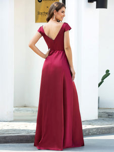Color=Burgundy | Gorgeous Deep Double V Neck Satin Prom Dress With Cap Sleeves-Burgundy 2