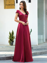 Load image into Gallery viewer, Color=Burgundy | Gorgeous Deep Double V Neck Satin Prom Dress With Cap Sleeves-Burgundy 3