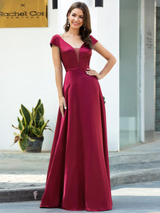 Color=Burgundy | Gorgeous Deep Double V Neck Satin Prom Dress With Cap Sleeves-Burgundy 4