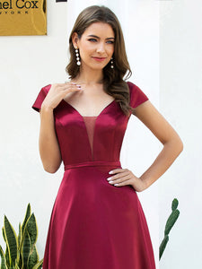 Color=Burgundy | Gorgeous Deep Double V Neck Satin Prom Dress With Cap Sleeves-Burgundy 5