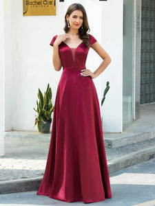 Color=Burgundy | Gorgeous Deep Double V Neck Satin Prom Dress With Cap Sleeves-Burgundy 1