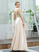 Load image into Gallery viewer, Color=Gold | Romantic A-Line Floor Length Sequins Beaded Satin Prom Dress-Gold 2
