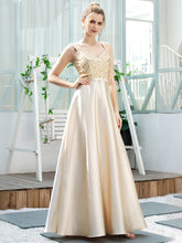 Load image into Gallery viewer, Color=Gold | Romantic A-Line Floor Length Sequins Beaded Satin Prom Dress-Gold 3