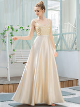 Load image into Gallery viewer, Color=Gold | Romantic A-Line Floor Length Sequins Beaded Satin Prom Dress-Gold 4