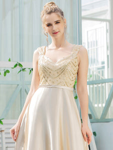 Color=Gold | Romantic A-Line Floor Length Sequins Beaded Satin Prom Dress-Gold 5