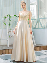Load image into Gallery viewer, Color=Gold | Romantic A-Line Floor Length Sequins Beaded Satin Prom Dress-Gold 1