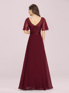 Color=Burgundy | Romantic Round Neck Ruffle Sleeves Chiffon & Sequin Prom Dress-Burgundy 2