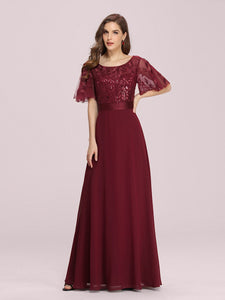 Color=Burgundy | Romantic Round Neck Ruffle Sleeves Chiffon & Sequin Prom Dress-Burgundy 3