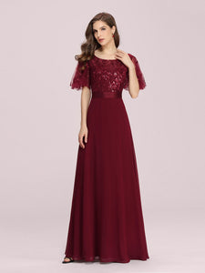 Color=Burgundy | Romantic Round Neck Ruffle Sleeves Chiffon & Sequin Prom Dress-Burgundy 4