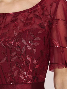 Color=Burgundy | Romantic Round Neck Ruffle Sleeves Chiffon & Sequin Prom Dress-Burgundy 5