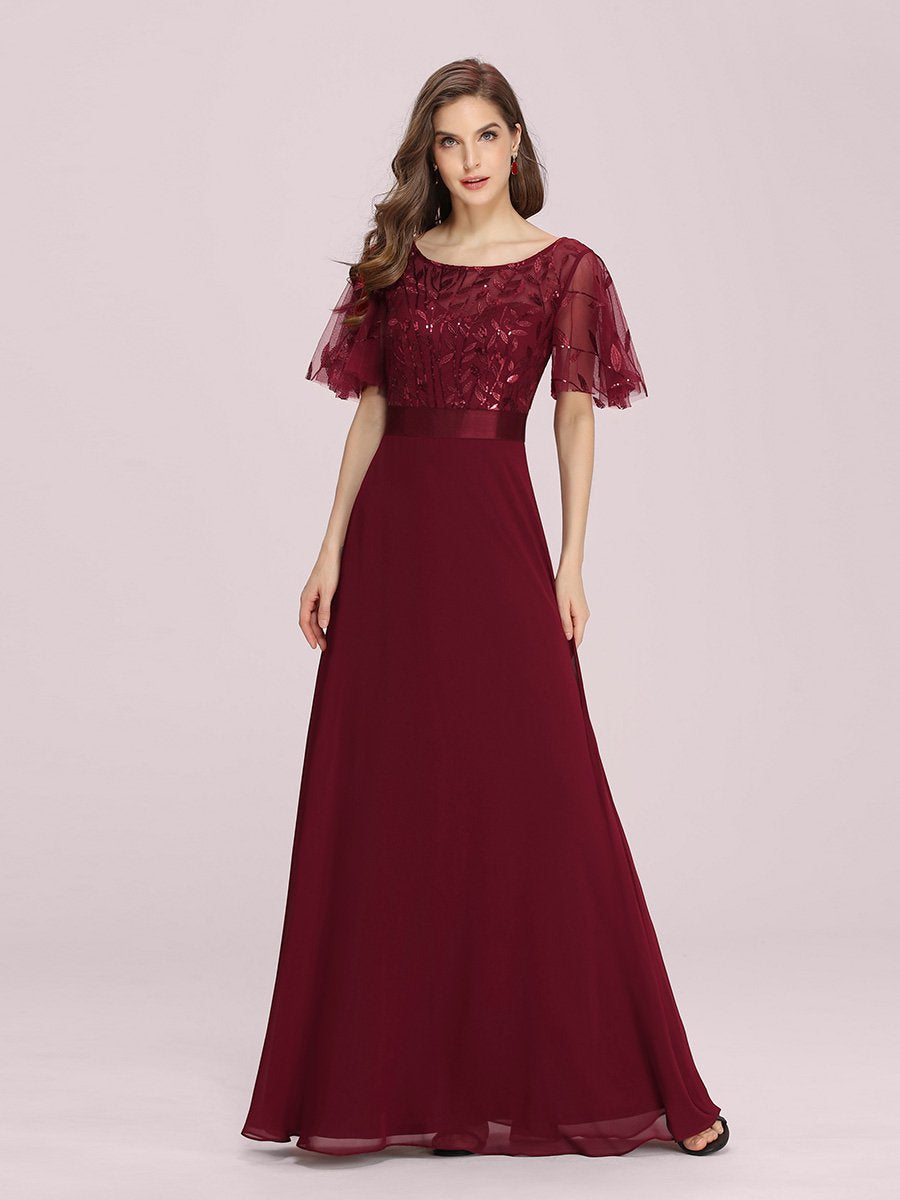 Color=Burgundy | Romantic Round Neck Ruffle Sleeves Chiffon & Sequin Prom Dress-Burgundy 1