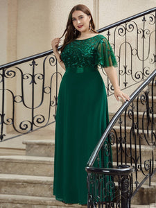 Color=Dark Green | Romantic Round Neck Ruffle Sleeves Chiffon & Sequin Prom Dress-Dark Green 5