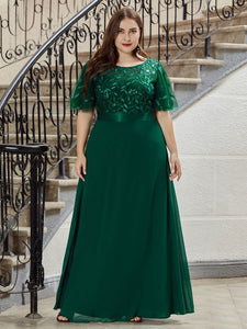 Color=Dark Green | Romantic Round Neck Ruffle Sleeves Chiffon & Sequin Prom Dress-Dark Green 4