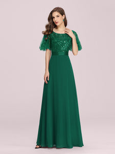 Color=Dark Green | Romantic Round Neck Ruffle Sleeves Chiffon & Sequin Prom Dress-Dark Green 6